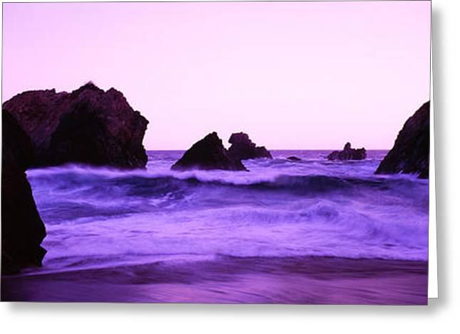 Santa Cruz Ca Photographs Greeting Cards - Dusk On The Santa Cruz Coastline Greeting Card by Panoramic Images
