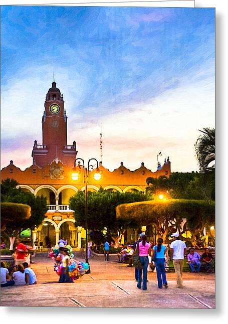 Tropical City Prints Greeting Cards - Dusk on the Zocalo in Merida Greeting Card by Mark Tisdale