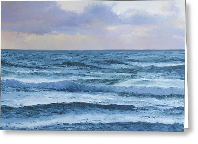 Ocean Scenes Greeting Cards - Dusk over the Ocean Greeting Card by Jan Matson