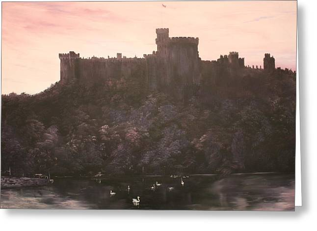 Corgies Greeting Cards - Dusk over Windsor Castle Greeting Card by Jean Walker