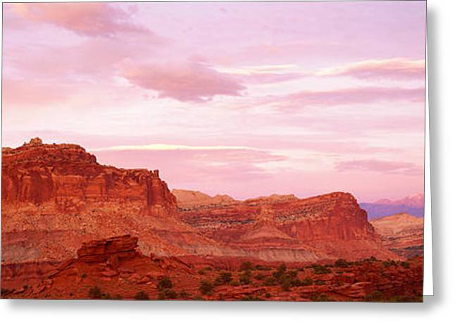 Colorful Photography Greeting Cards - Dusk Panorama Point Capital Reef Greeting Card by Panoramic Images