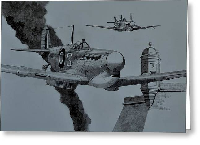 Spitfire Drawings Greeting Cards - Dusk Patrol Greeting Card by Ray Agius