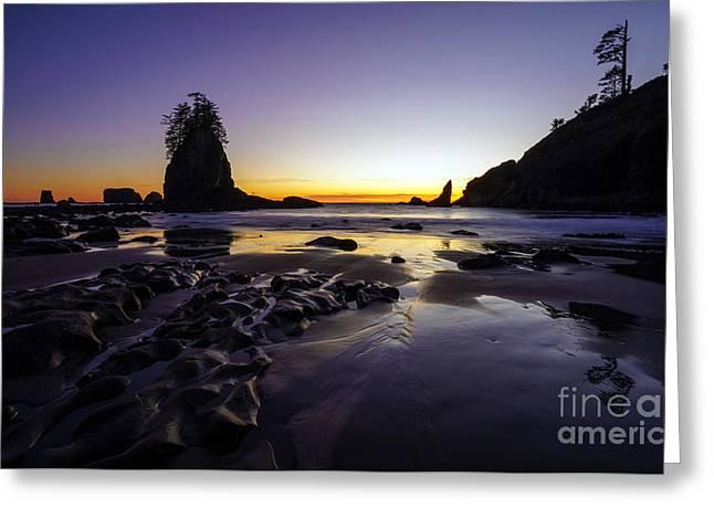 Forks Washington Greeting Cards - Dusk Peace Along the Washington Coast Greeting Card by Mike Reid