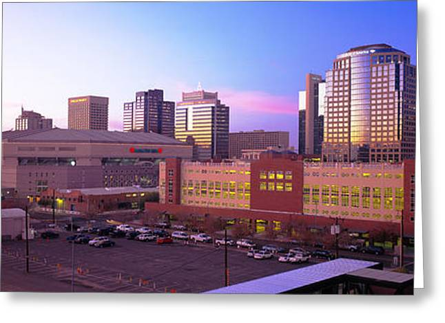 Phoenix Architecture Greeting Cards - Dusk Phoenix Az Greeting Card by Panoramic Images