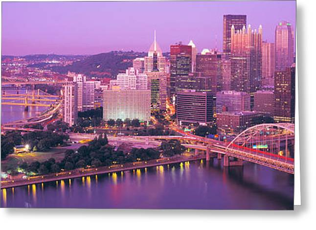 Corporate Business Greeting Cards - Dusk, Pittsburgh, Pennsylvania, Usa Greeting Card by Panoramic Images