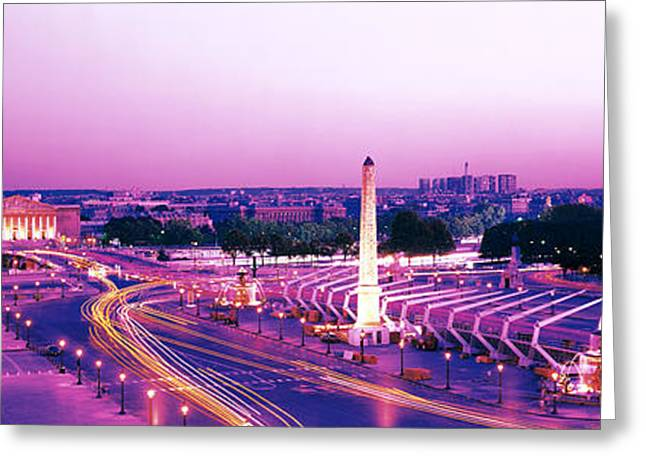 Concorde Greeting Cards - Dusk Place De La Concorde Paris France Greeting Card by Panoramic Images