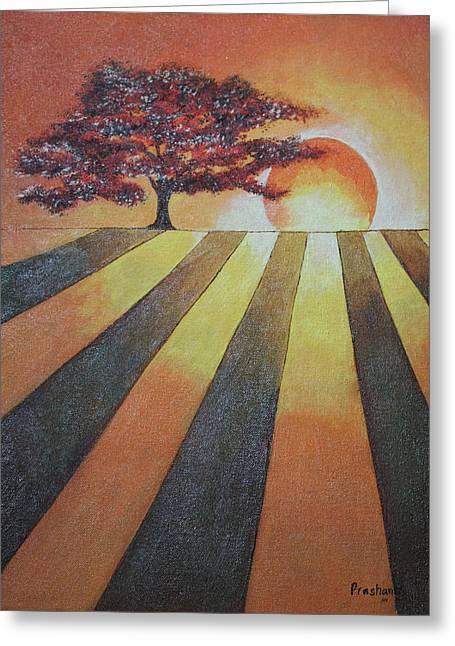 Fantastique Paintings Greeting Cards - Dusk  Greeting Card by Prashanth Bala Ramachandra