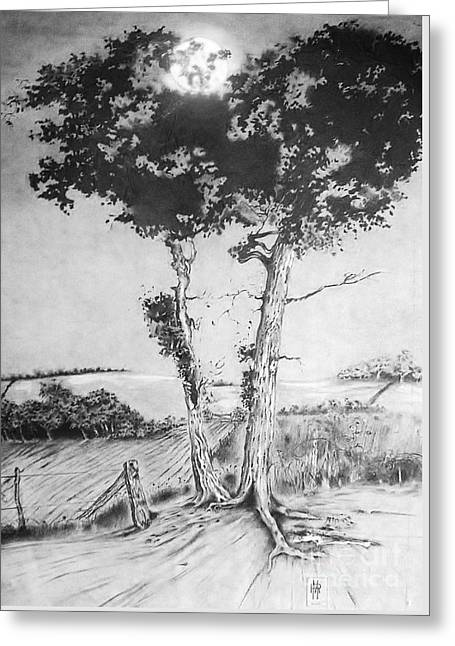 Tree Roots Drawings Greeting Cards - Dusk Greeting Card by Russ Murry