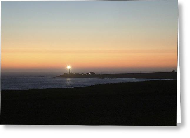 Dusk Settles On The Pigeon Point Light Station Near Ano Nuevo Greeting Card by Scott Lenhart