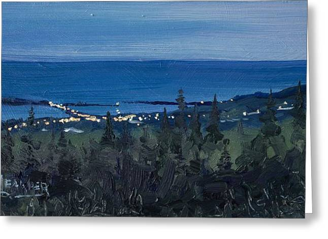 Twinkle Greeting Cards - Dusk Settles Over Grand Marais Greeting Card by Spencer Meagher