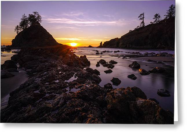 Shi Greeting Cards - Dusk Skies Along the Coast Greeting Card by Mike Reid
