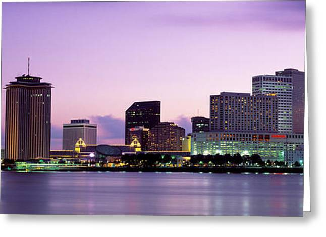 Big Easy Greeting Cards - Dusk Skyline, New Orleans, Louisiana Greeting Card by Panoramic Images