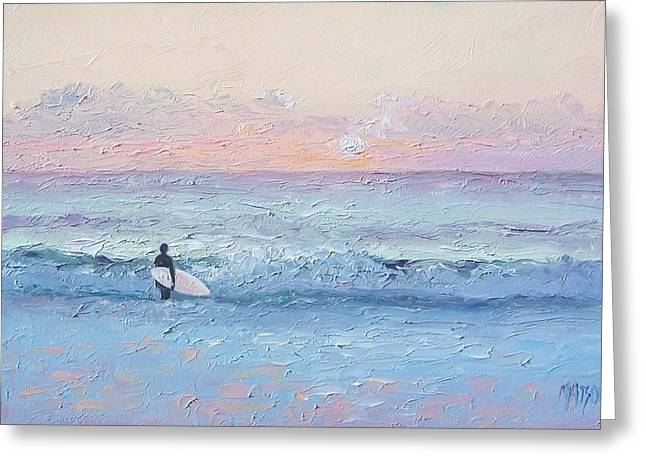 Surfing Art Print Paintings Greeting Cards - Dusk Surfer Greeting Card by Jan Matson
