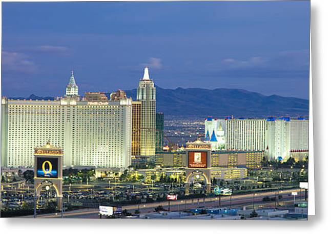 The Strip Greeting Cards - Dusk The Strip Las Vegas Nv Greeting Card by Panoramic Images