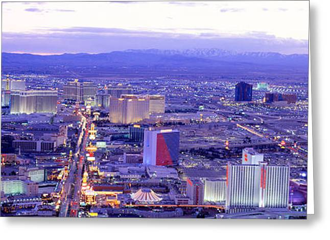 The Strip Greeting Cards - Dusk The Strip Las Vegas Nv Usa Greeting Card by Panoramic Images