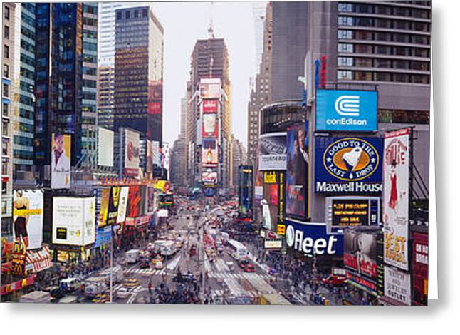 Theatre Billboard Greeting Cards - Dusk, Times Square, Nyc, New York City Greeting Card by Panoramic Images