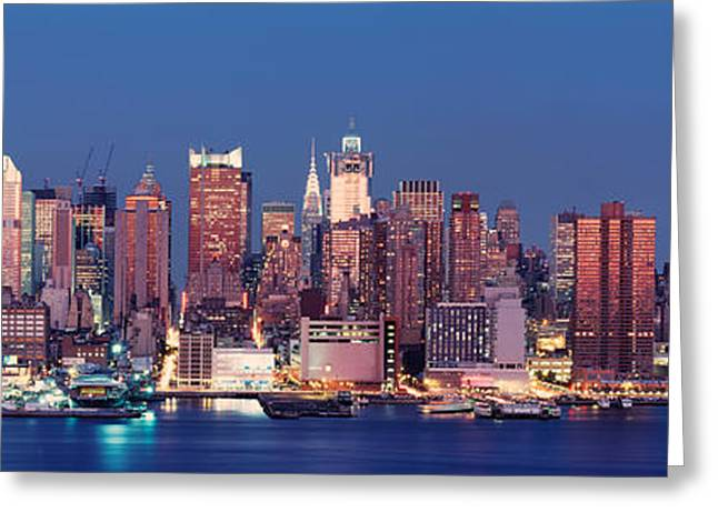 Dusk, West Side, Nyc, New York City, Usa Greeting Card by Panoramic Images