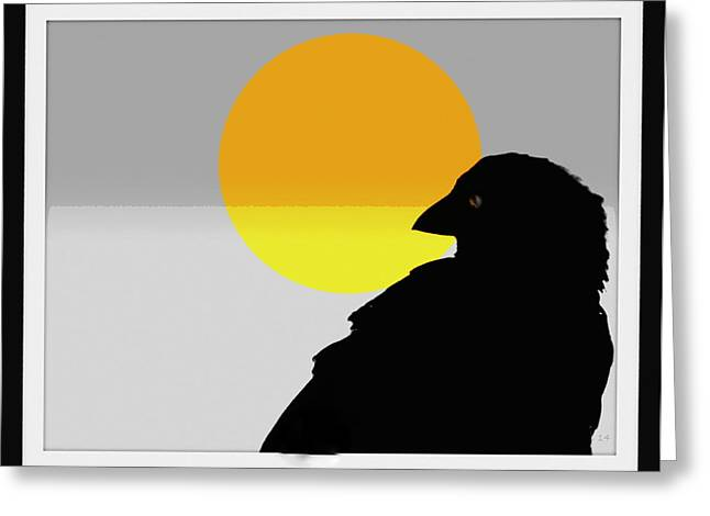 Focal Color Art Greeting Cards - Dusky Crow And Sun Abstract Greeting Card by Kathy Barney
