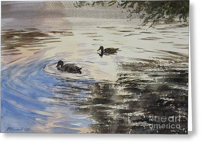 Overhang Greeting Cards - Dusky Ducks Greeting Card by Martin Howard