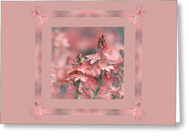 Dusky Greeting Cards - Dusky Pink Ribbons Greeting Card by Gill Billington