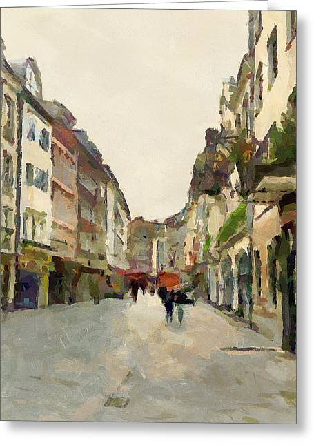 Dusseldorf Old Town Street 2 Greeting Card by Yury Malkov