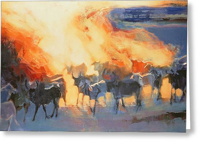Herd Greeting Cards - Dust Cloud, Drung, 1996 Oil On Canvas Greeting Card by Mark Adlington
