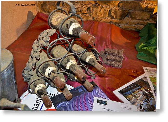 Oingt France Greeting Cards - Dust Covered Wine Bottles Greeting Card by Allen Sheffield