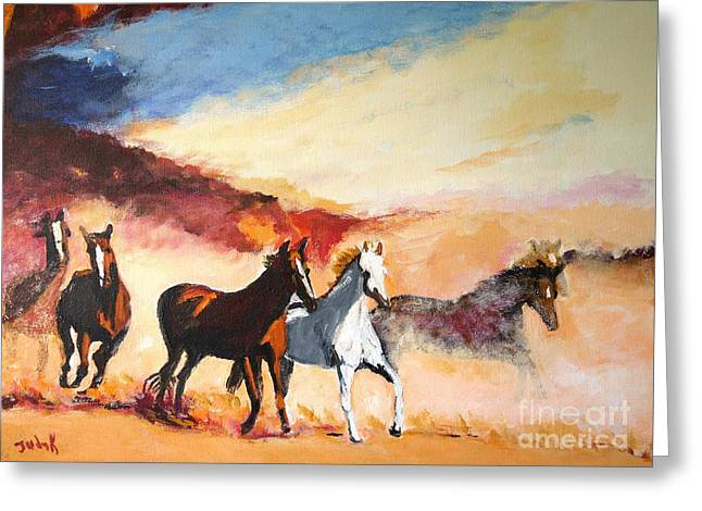 Horse Greeting Cards - Dust in the Wind Greeting Card by Judy Kay