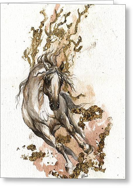 Horse Mixed Media Greeting Cards - Dust of gold Greeting Card by Angel  Tarantella