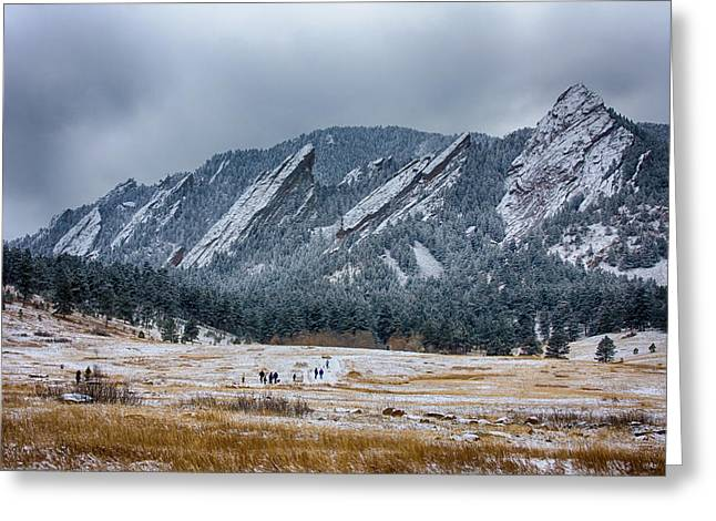 Dusted Flatirons Chautauqua Park Boulder Colorado Greeting Card by James BO  Insogna