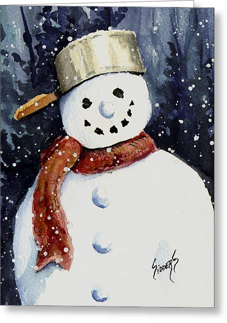 Dustie's Snowman Greeting Card by Sam Sidders