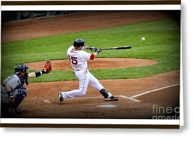 Dustin Pedroia Greeting Cards - Dustin Pedroia 2 Greeting Card by Michael Jones