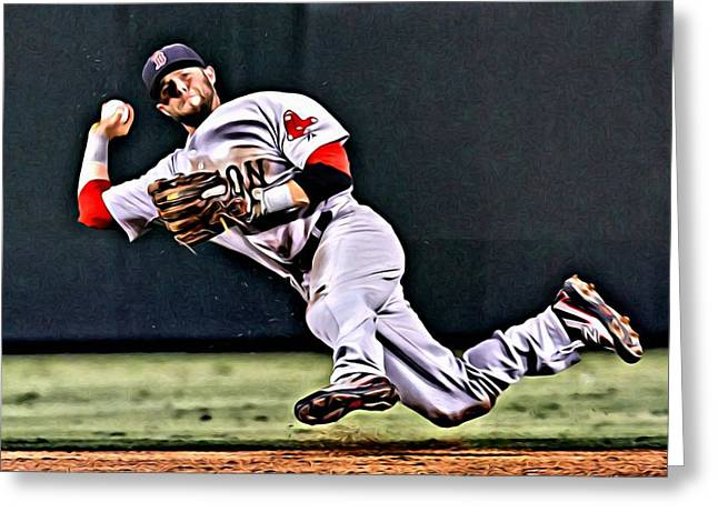 Red Sox Vintage Poster Greeting Cards - Dustin Pedroia Greeting Card by Florian Rodarte