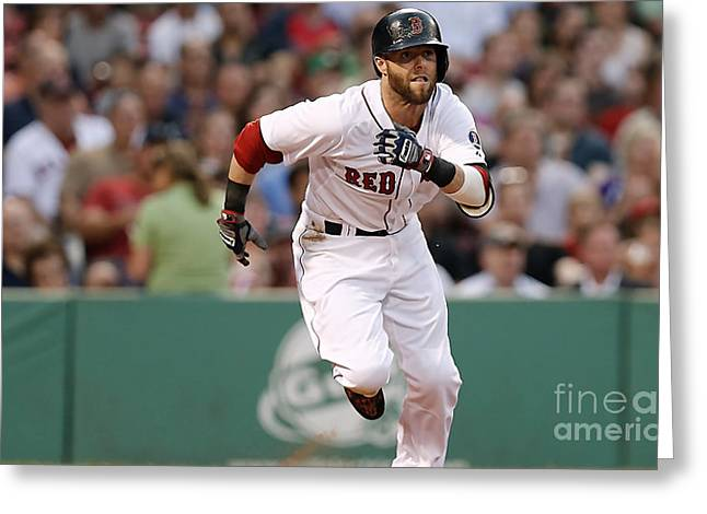 Dustin Pedroia Greeting Cards - Dustin Pedroia Greeting Card by Marvin Blaine