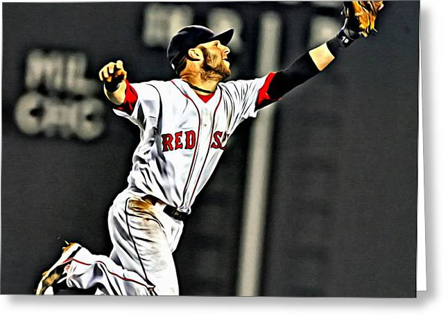 Boston Red Sox Poster Greeting Cards - Dustin Pedroia Painting Greeting Card by Florian Rodarte