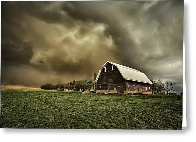 Fear Greeting Cards - Dusty Barn Greeting Card by Thomas Zimmerman