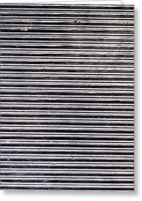 Metallic Sheets Greeting Cards - Dusty Black Shutters Greeting Card by Chay Bewley
