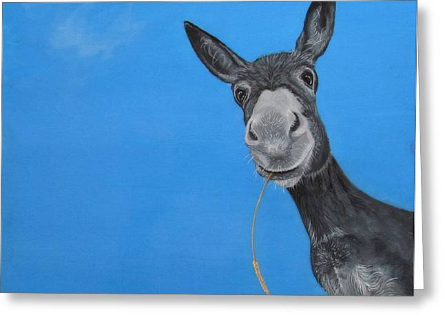 Donkey Mixed Media Greeting Cards - Dusty Greeting Card by Christine Cholowsky