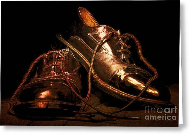 Footgear Greeting Cards - Dusty Dancing Shoes Greeting Card by Phill Petrovic