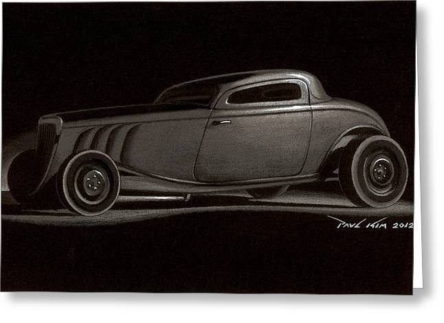 Rusted Cars Drawings Greeting Cards - Dusty Ford Coupe Greeting Card by Paul Kim