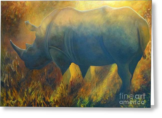 Caroline Street Greeting Cards - Dusty Rhino Greeting Card by Caroline Street