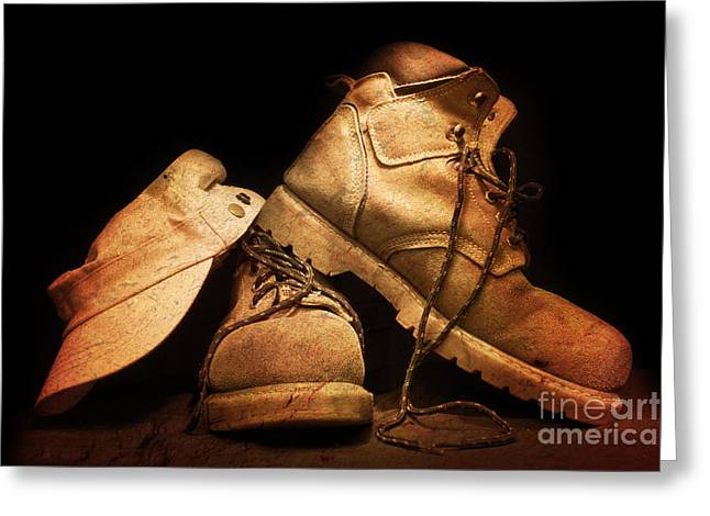 Work Boots Greeting Cards - Dusty Work Boots Greeting Card by Phill Petrovic