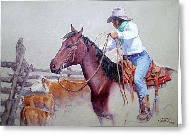 Arizona Cowboy Greeting Cards - Dusty Work Greeting Card by Randy Follis