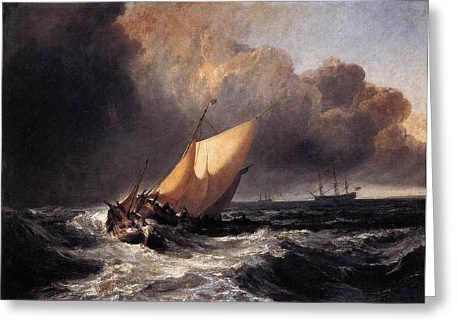 Jmw Greeting Cards - Dutch boats in a gale 1801 Greeting Card by Joseph Mallord William Turner