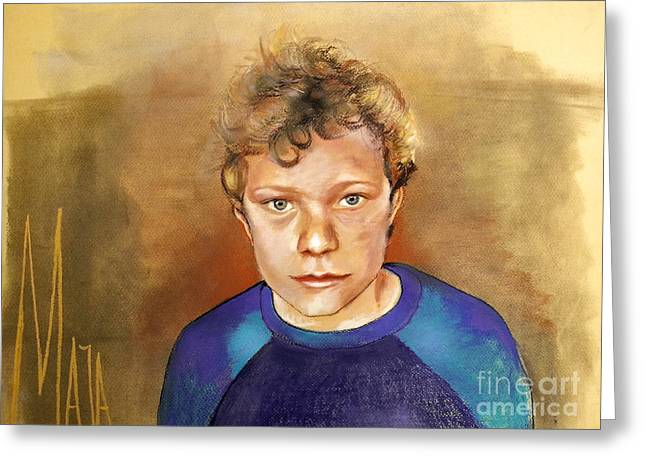 Cheeses Drawings Greeting Cards - Dutch boy portrait Greeting Card by Maja Sokolowska