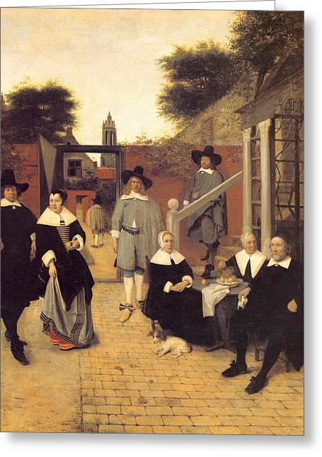 Dutch Family Greeting Card by Pieter de Hooch