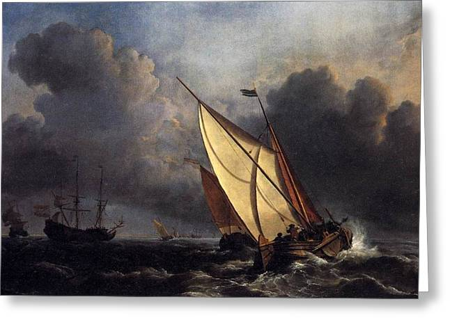 Painter Of Light Greeting Cards - Dutch fishing boats in a storm 1801 Greeting Card by J M W Turner