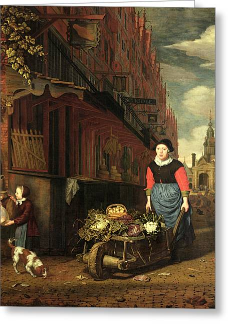 Vegetable Photographs Greeting Cards - Dutch Genre Scene, 1668 Oil On Panel Greeting Card by Michiel van Musscher
