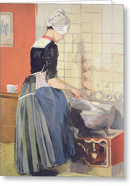 Tiled Greeting Cards - Dutch Girl Cooking, From Lestampe Greeting Card by Ferdinand-Jean Luigini