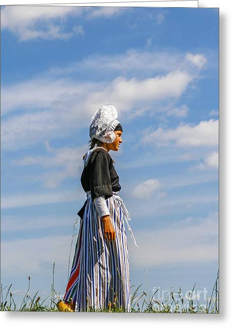 Dutch Girl Greeting Cards - Dutch girl in traditional clothing Greeting Card by Patricia Hofmeester